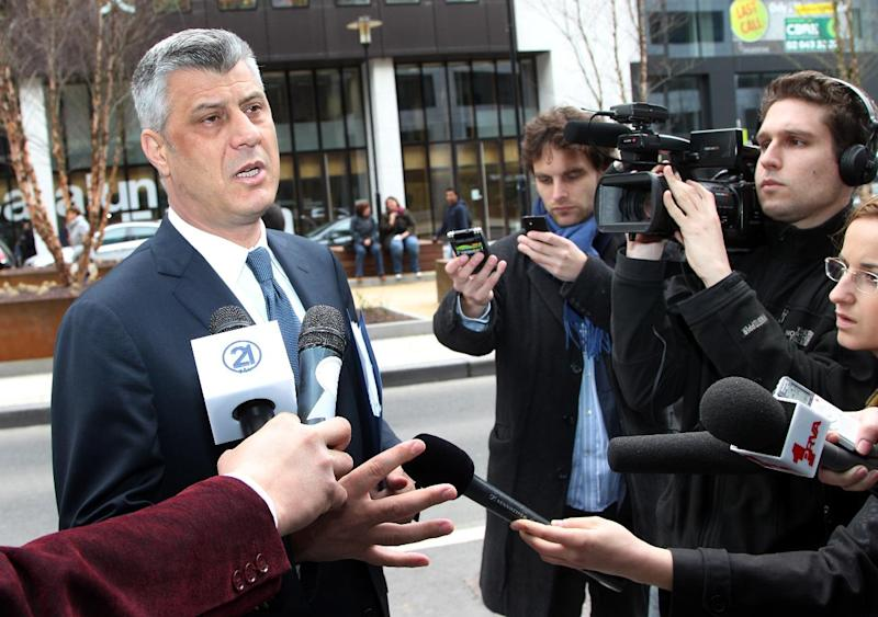 Kosovo Prime Minister Hashim Thaci addresses the media upon his arrival, at the EEAS headquarters in Brussels, Friday, April 19, 2013. The leaders of Serbia and Kosovo negotiated for the 10th time in Brussels on one of the most difficult issues dividing them, as Serbia strains to meet conditions for eventual membership in the European Union. (AP Photo/Yves Logghe)