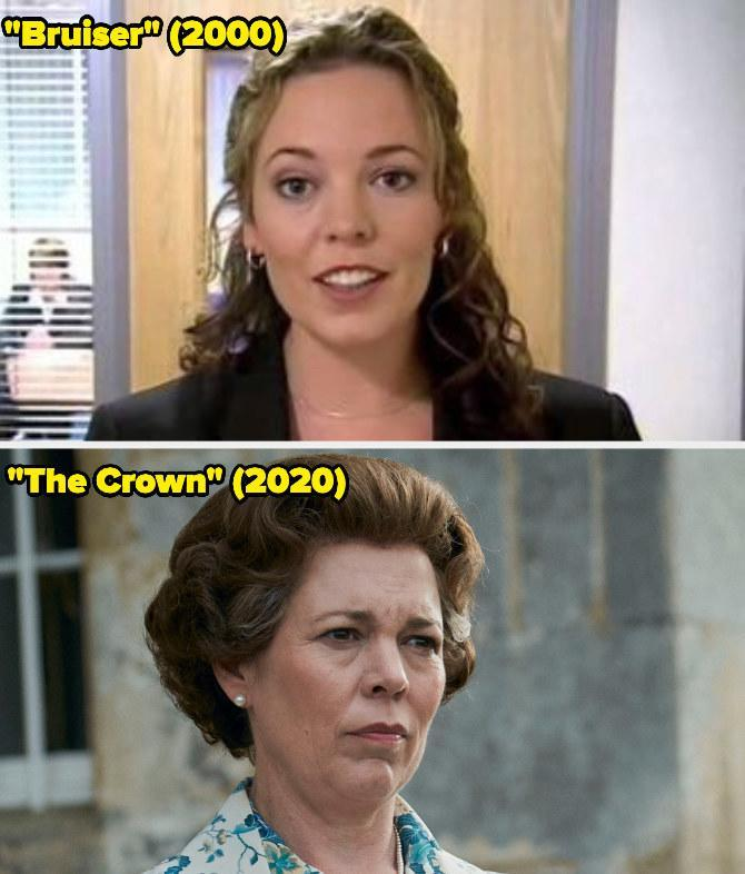 Then: She starred on the British sketch series Bruiser.Now: She won the Emmy forOutstanding Lead Actress in a Drama Series for her portrayal of Queen Elizabeth II on The Crown.