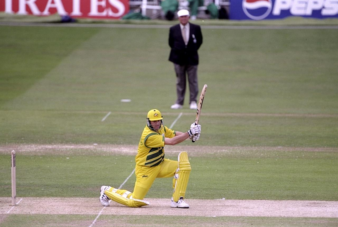 20 Jun 1999:  Mark Waugh of Australia on his way to 37 not out against Pakistan in the Cricket World Cup Final at Lord's in London. Australia won by 8 wickets. \ Mandatory Credit: Graham Chadwick /Allsport