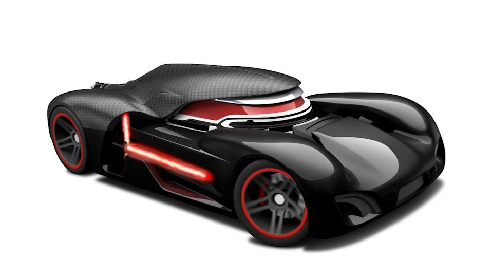 <p>Hot Wheels's ominous race car is inspired by Kylo Ren. It's even draped with his signature hood!</p>