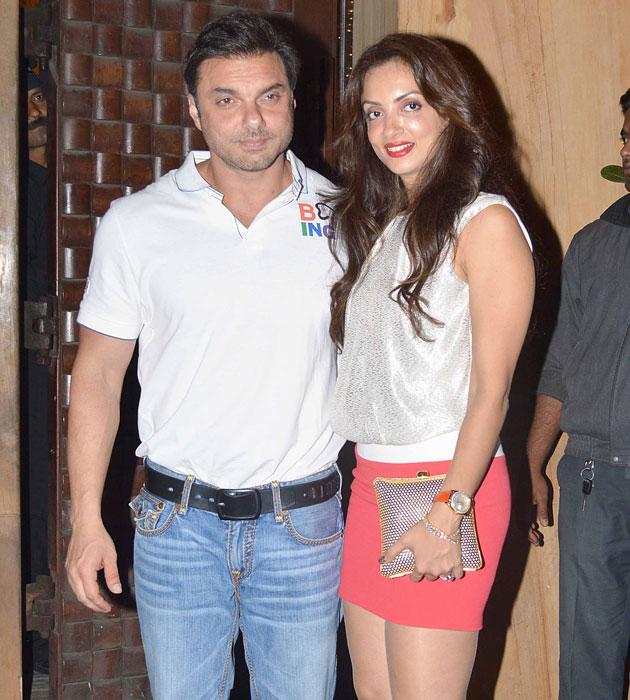 Sohail with his wife arrive for the bash