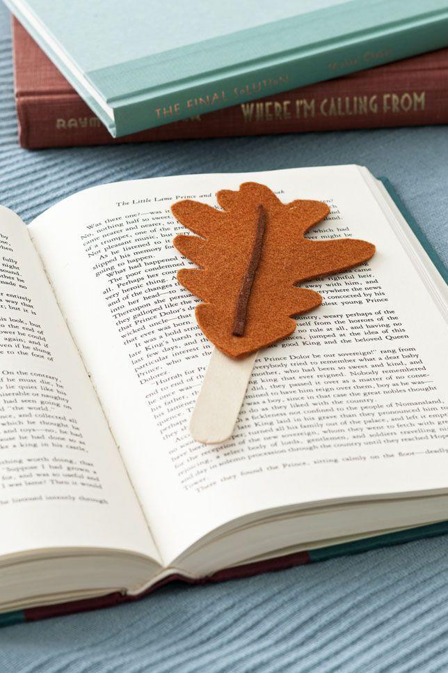 "<p>Just because they're on a break from school doesn't mean you can't make a trip (or two) to the library! These cute bookmarks will keep them excited to read. Simply attach felt leaves to craft sticks, and they're ready to be used. </p><p><a class=""link rapid-noclick-resp"" href=""https://www.amazon.com/Felt-Autumn-Leaves-Wildflower-Toys/dp/B07119T7M9/?tag=syn-yahoo-20&ascsubtag=%5Bartid%7C10050.g.22626432%5Bsrc%7Cyahoo-us"" rel=""nofollow noopener"" target=""_blank"" data-ylk=""slk:SHOP FELT LEAVES"">SHOP FELT LEAVES</a> </p>"