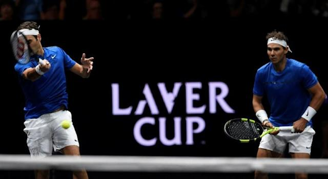 Roger Federer and Rafael Nadal team up at the 2017 Laver Cup (AFP Photo/Michal Cizek)