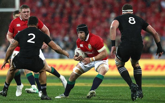 Sean O'Brien takes on the All Blacks defence during the Lions win in the second Test in 2017 - GETTY IMAGES