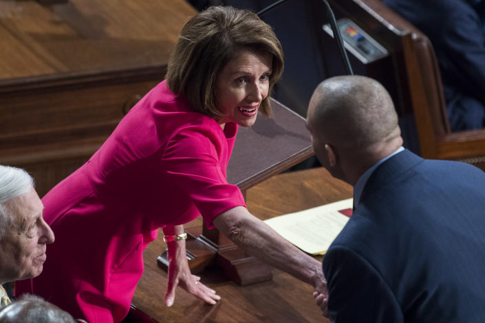 Rep. Nancy Pelosi talks with Rep. Hakeem Jeffries in the Capitol before she won the House speakership, Jan. 3, 2019. (Tom Williams/CQ Roll Call via Getty Images)