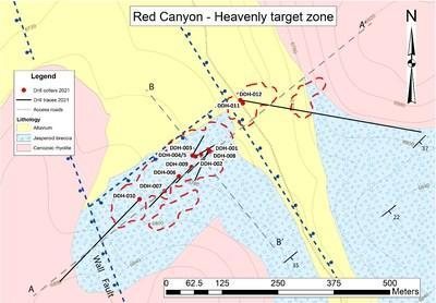 Figure 1. Red Canyon: Drill traces from Phase 1 drill program at the Heavenly target zone and location of section A-A' included in this press release. Red dashed lines represent Au zones of >0.1g defined from historical rotary drilling. Mineralization is hosted in calcareous siltstone of the lower plate units of the Roberts Mountains Formation dipping to the southeast. (CNW Group/Millennial Precious Metals Corp.)