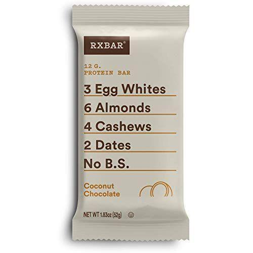 """<p><strong>RXBAR</strong></p><p>amazon.com</p><p><strong>$19.44</strong></p><p><a href=""""https://www.amazon.com/dp/B0143NQVI4?tag=syn-yahoo-20&ascsubtag=%5Bartid%7C10055.g.33456644%5Bsrc%7Cyahoo-us"""" rel=""""nofollow noopener"""" target=""""_blank"""" data-ylk=""""slk:Shop Now"""" class=""""link rapid-noclick-resp"""">Shop Now</a></p><p>We seriously dig this almond-joy inspired flavor combo in the classic RXBAR form. <strong>Packed with real ingredients and 12 grams of protein</strong>, it makes for a filling post-workout treat. </p><p><strong><em><br></em></strong><strong><em>Per 1 bar serving: 210 cal, 9g fat, 170mg sodium, 23g carb, 5g fiber, 0g added sugar, 12g protein</em></strong></p>"""