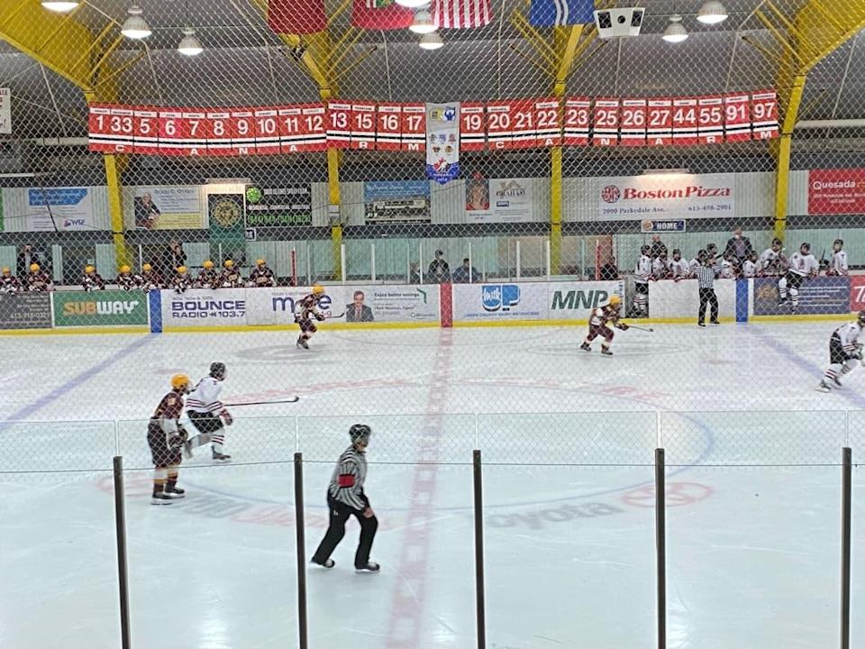 There are currently no logos on display at centre ice at the Memorial Civic Centre in Brockville, Ont., after the city decided to remove the Indigenous-themed emblems of the Brockville Braves and Brockville Tikis. (Kimberley Molina/CBC - image credit)