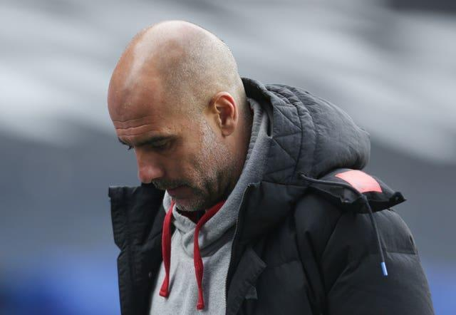Pep Guardiola will watch the game at Old Trafford on Sunday