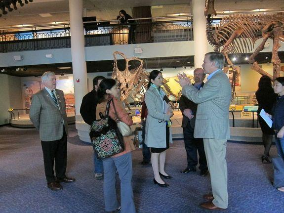 As part of preparations to establish the first dinosaur museum in Mongolia and to train future paleontologists from that country, a Mongolian delegation visited the Academy of Natural Sciences of Drexel University in Philadelphia. Ted Daeschler