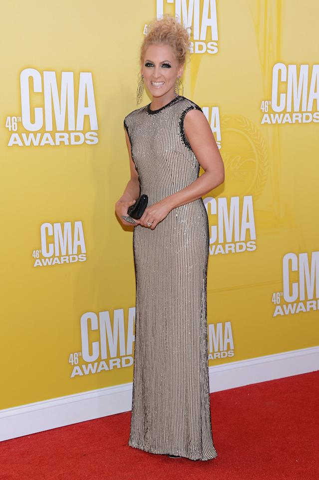 Kimberly Schlapman attends the 46th annual CMA Awards at the Bridgestone Arena on November 1, 2012 in Nashville, Tennessee.