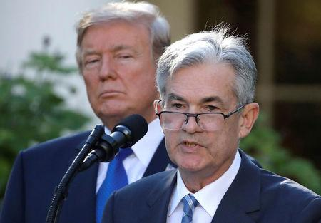 U.S. President Donald Trump looks on as Jerome Powell, his nominee to become chairman of the U.S. Federal Reserve, speaks at the White House in Washington
