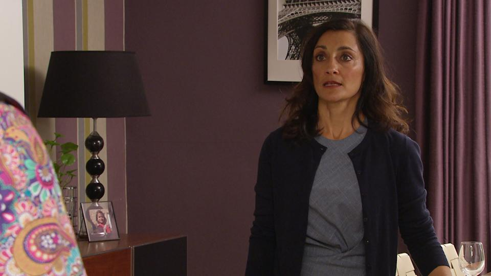 FROM ITV  STRICT EMBARGO Print media - No Use Before Tuesday Tuesday 5th October 2021 Online Media - No Use Before 0700hrs  Tuesday 5th October 2021  Emmerdale - 9177  Wednesday 13th October 2021  Rishi Sharma [BHASKER PATEL] is left heartbroken when Manpreet Sharma [REBECCA SHARMA] reveals that she doesn't love him anymore.   Picture contact David.crook@itv.com   This photograph is (C) ITV Plc and can only be reproduced for editorial purposes directly in connection with the programme or event mentioned above, or ITV plc. Once made available by ITV plc Picture Desk, this photograph can be reproduced once only up until the transmission [TX] date and no reproduction fee will be charged. Any subsequent usage may incur a fee. This photograph must not be manipulated [excluding basic cropping] in a manner which alters the visual appearance of the person photographed deemed detrimental or inappropriate by ITV plc Picture Desk. This photograph must not be syndicated to any other company, publication or website, or permanently archived, without the express written permission of ITV Picture Desk. Full Terms and conditions are available on  www.itv.com/presscentre/itvpictures/termsFROM ITV  STRICT EMBARGO Print media - No Use Before Tuesday Tuesday 5th October 2021 Online Media - No Use Before 0700hrs  Tuesday 5th October 2021  Emmerdale - 9177  Wednesday 13th October 2021  Kim Tate [CLAIRE KING] agrees to let Priya Sharma [FIONA WADE] and Ellis Grant [AARON ANTHONY] move their base camp for the survival event to the site where Malone is buried. This leaves Will Taylor [DEAN ANDREWS] fearing it's only a matter of time before the body is discovered.    Picture contact David.crook@itv.com   This photograph is (C) ITV Plc and can only be reproduced for editorial purposes directly in connection with the programme or event mentioned above, or ITV plc. Once made available by ITV plc Picture Desk, this photograph can be reproduced once only up until the transmission [TX] date and no 