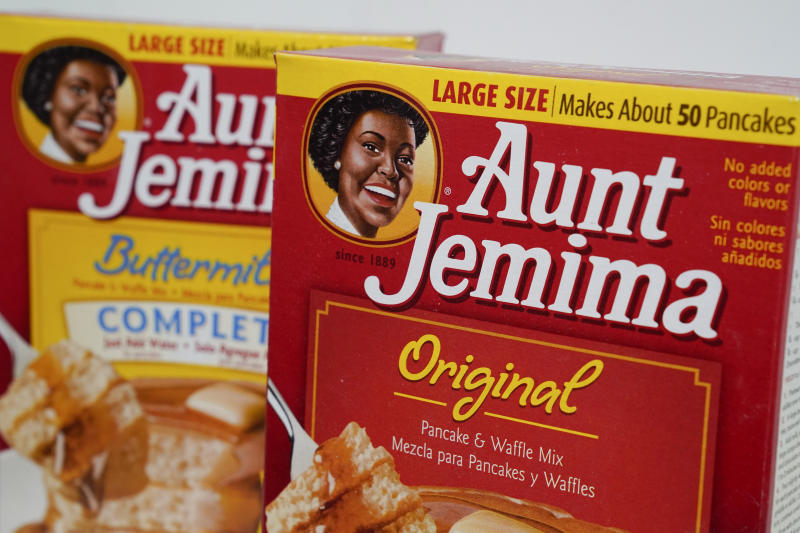 "Boxes of Aunt Jemima pancake batter are displayed on Wednesday, June 17, 2020, in Long Beach, Calif. Quaker Oats is retiring the 131-year-old Aunt Jemima brand, saying the company recognizes the character's origins are ""based on a racial stereotype."" (AP Photo/Ashley Landis)"