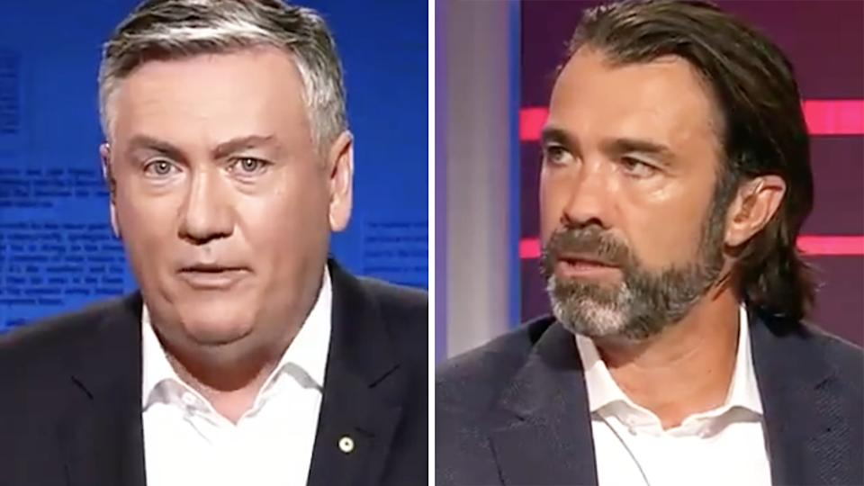 Eddie McGuire's suggestion that the AFL was growing tired of Chris Scott's theatrics was met with a flat rebuttal from the Geelong coach. Pictures: Channel 9/Footy Classified