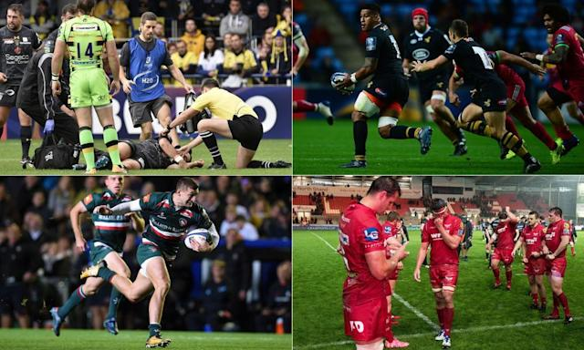"<span class=""element-image__caption"">Clockwise: The referee tends to Clermont's French scrum-half Morgan Parra, Nathan Hughes was man of the match for Wasps, Scarlets sum up Welsh woe and Jonny May in full flight for Leicester.</span> <span class=""element-image__credit"">Composite: AFP, Getty Images, PA</span>"
