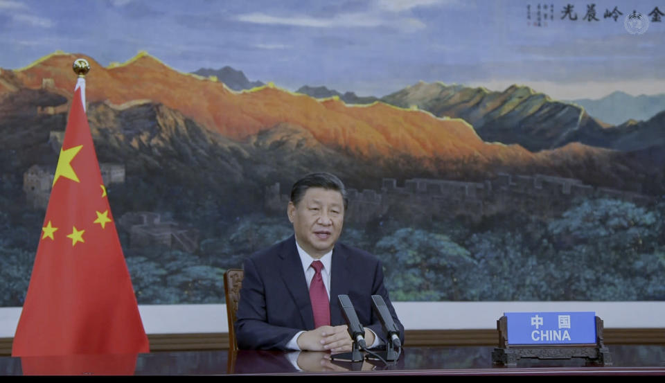 In this image to taken from video provided by UN Web TV, China's President Xi Jinping remotely addresses the 76th session of the United Nations General Assembly in a pre-recorded message, Tuesday Sept. 21, 2021, at UN headquarters. (UN Web TV via AP)