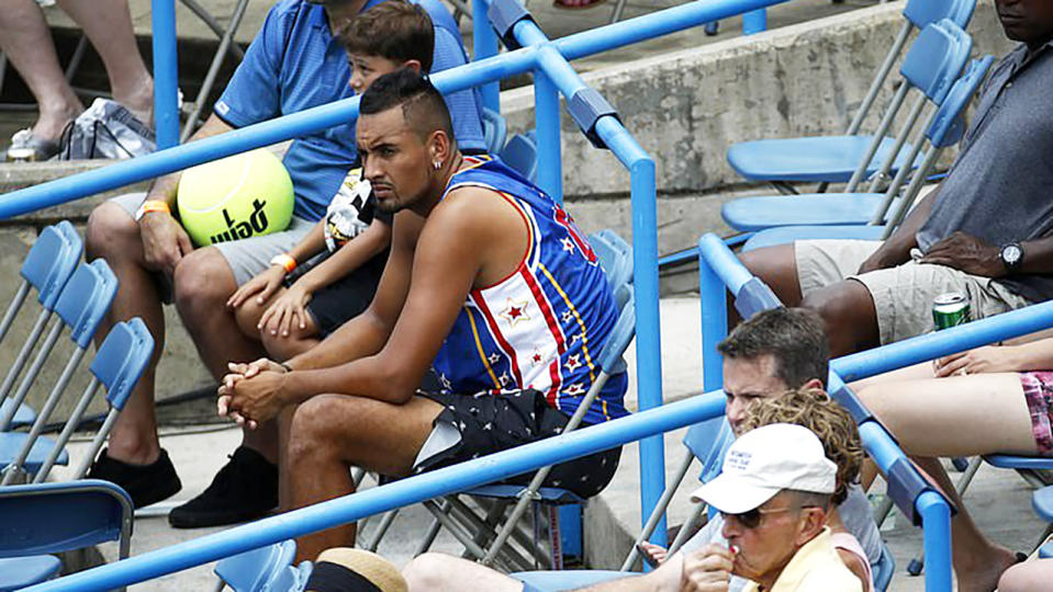 Nick Kyrgios, pictured here in Anna Kalinskaya's players box at the Citi Open in Washington.