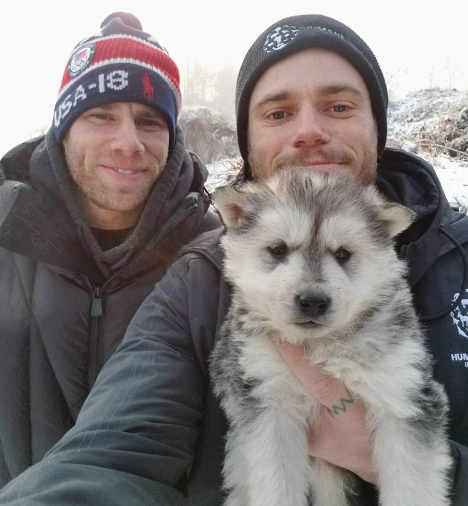 """<p>The Olympic skier helped Humane Society International rescue 90 dogs from a <a href=""""https://people.com/pets/gus-kenworthy-rescues-new-puppy-birdie/"""" rel=""""nofollow noopener"""" target=""""_blank"""" data-ylk=""""slk:&quot;horrifying&quot;"""" class=""""link rapid-noclick-resp"""">""""horrifying""""</a> dog meat farm in South Korea during the 2018 Winter Games in PyeongChang.</p> <p>Kenworthy even adopted a dog named Beemo from the pack. Though <a href=""""https://people.com/pets/gus-kenworthy-rescue-dog-winter-olympics-died/"""" rel=""""nofollow noopener"""" target=""""_blank"""" data-ylk=""""slk:the pup"""" class=""""link rapid-noclick-resp"""">the pup</a> sadly passed away soon after due to a heart condition, Kenworthy later adopted a puppy from the litter born in and rescued from South Korea. The new dog's name, Birdie, honors """"one of Beemo's <a href=""""https://people.com/pets/gus-kenworthy-rescues-new-puppy-birdie/"""" rel=""""nofollow noopener"""" target=""""_blank"""" data-ylk=""""slk:favorite things in the world"""" class=""""link rapid-noclick-resp"""">favorite things in the world</a>,"""" the Olympian said.</p>"""