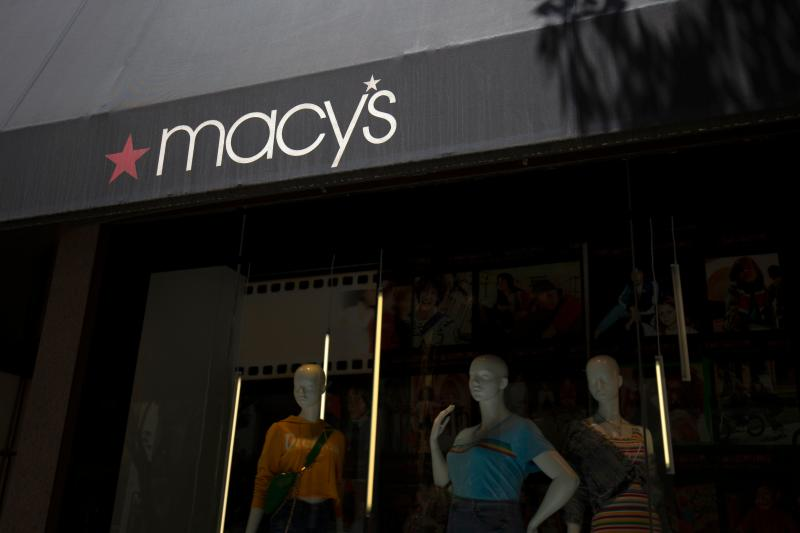 The Macy's logo is seen outside a shop in Washington, DC, on July 25, 2019. (Photo by Alastair Pike / AFP) (Photo credit should read ALASTAIR PIKE/AFP/Getty Images)