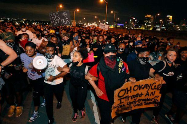 PHOTO: Protesters take over the Crescent City Connection bridge, which spans the Mississippi River in New Orleans, Wednesday, June 3, 2020, during a protest over the death of George Floyd. (Gerald Herbert/AP)