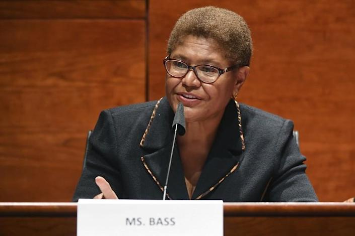 FILE - In this June 17, 2020, file photo, Rep. Karen Bass, D-Calif., speaks during a House Judiciary Committee markup of the Justice in Policing Act of 2020 on Capitol Hill in Washington. (Kevin Dietsch/Pool via AP, File)