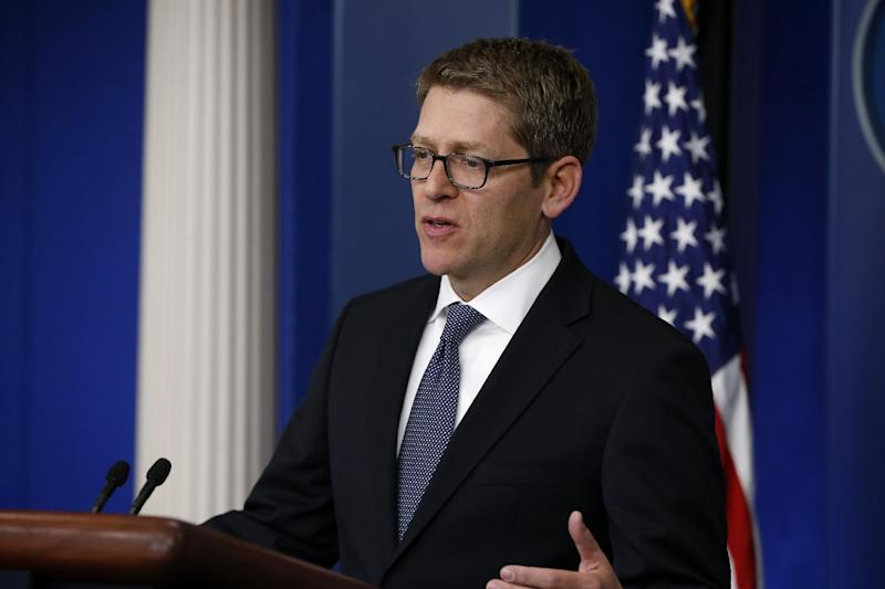 "White House press secretary Jay Carney speaks to reporters at the daily press briefing, Friday, April 11, 2014, at the White House in Washington. The US, in a rare diplomatic rebuke, will not grant a visa to Tehran's pick for envoy to the United Nations, the Obama administration said Friday. ""We've communicated with the Iranians at a number of levels and made clear our position on this _ and that includes our position that the selection was not viable,"" Carney said. ""Our position is that we will not be issuing him a visa.""(AP Photo/Charles Dharapak)"