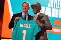 <p>Going sixth overall, Jaylen Waddle was selected by the Miami Dolphins.</p>
