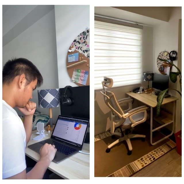 Automation engineer Charles Go while working in a WFH set-up in his home in Pasig City.