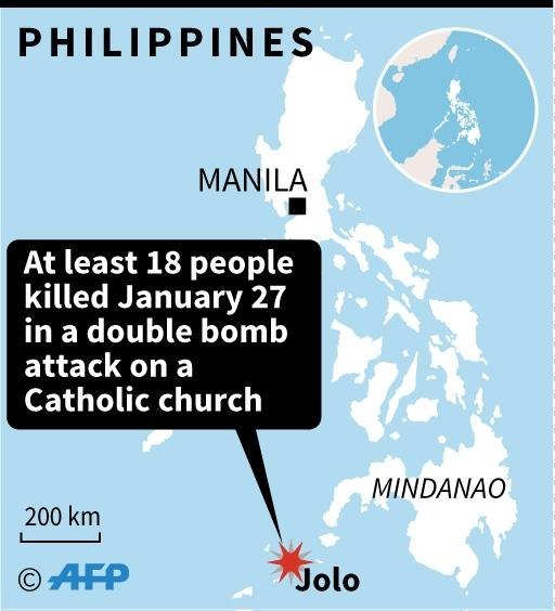 Map locating a double bomb attack on the island of Jolo in southern Philippines (AFP Photo/AFP )
