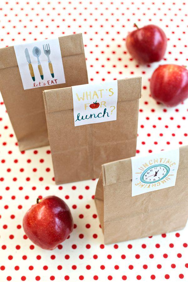 "<p>Upgrade boring <a rel=""nofollow"" href=""https://www.womansday.com/food-recipes/cooking-tips/tips/a5862/how-to-pack-a-better-school-lunch-120119/"">lunch bags</a> with fun stickers  -  you can even surprise them with a new one each day of the week. </p><p><strong>Get the tutorial at <a rel=""nofollow"" href=""https://studiodiy.com/2014/08/14/free-printable-school-lunch-bag-labels/"">Studio DIY.</a></strong><br></p><p><strong>What you'll need: </strong>Brown paper bags ($7, <a rel=""nofollow"" href=""https://www.amazon.com/Mini-Kraft-Paper-Bags-pack/dp/B012W5K5Z0/"">amazon.com</a>)</p>"