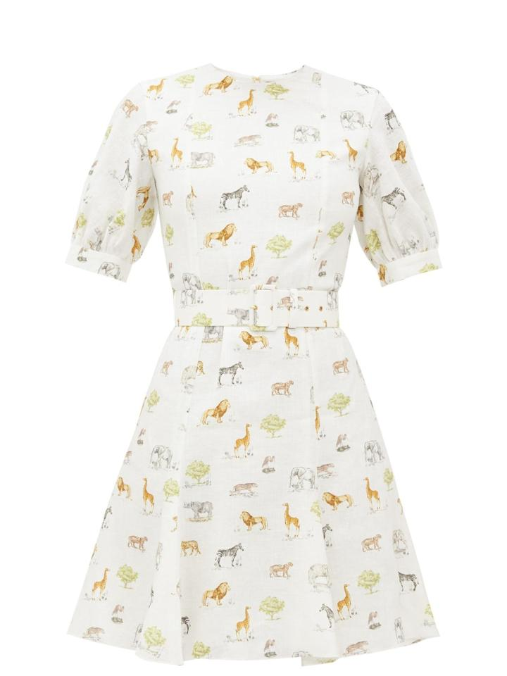 """<p>Linen dress, £605, Emilia Wickstead</p><p><a class=""""body-btn-link"""" href=""""https://go.redirectingat.com?id=127X1599956&url=https%3A%2F%2Fwww.matchesfashion.com%2Fproducts%2FEmilia-Wickstead-Pip-animal-print-belted-linen-mini-dress-1311997&sref=https%3A%2F%2Fwww.townandcountrymag.com%2Fuk%2Fstyle%2Ffashion%2Fg32698495%2Fwhat-to-wear-seaside-staycation%2F"""" target=""""_blank"""">Shop now</a></p>"""