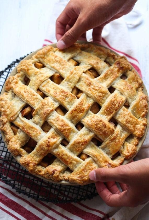 "<p>This easy apple pie recipe promises delicious results without the hard work. Top it off with cold vanilla ice cream, and all your cravings will be satisfied.</p> <p><strong>Get the recipe</strong>: <a href=""https://cookiesandcups.com/apple-pie-recipe/"" class=""link rapid-noclick-resp"" rel=""nofollow noopener"" target=""_blank"" data-ylk=""slk:easy apple pie"">easy apple pie</a></p>"
