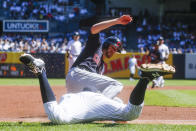 Cleveland Indians' Bradley Zimmer, right, dives safely into third base as New York Yankees' DJ LeMahieu tries to tag him out in the first inning of a baseball game, Sunday, Sept. 19, 2021, in New York. (AP Photo/Eduardo Munoz Alvarez)
