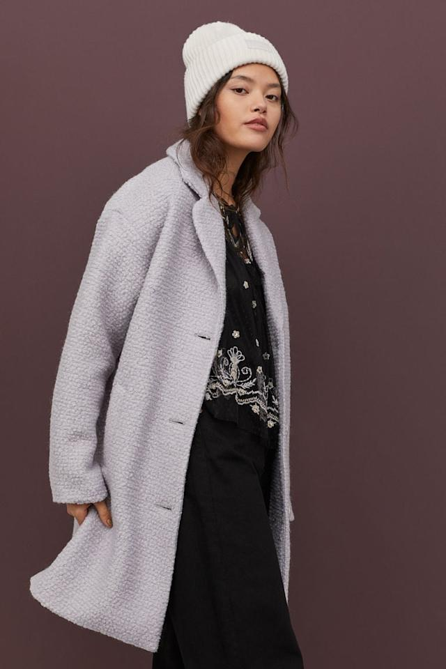 "<p>This pretty lavender <a href=""https://www.popsugar.com/buy/HampM-Wool-Blend-Coat-537519?p_name=H%26amp%3BM%20Wool-Blend%20Coat&retailer=www2.hm.com&pid=537519&price=70&evar1=fab%3Aus&evar9=45621663&evar98=https%3A%2F%2Fwww.popsugar.com%2Ffashion%2Fphoto-gallery%2F45621663%2Fimage%2F47075855%2FHM-Wool-Blend-Coat&list1=shopping%2Cfall%20fashion%2Ccoats%2Cfall%2Cwinter%2Cwinter%20fashion%2Cbest%20of%202020&prop13=mobile&pdata=1"" rel=""nofollow"" data-shoppable-link=""1"" target=""_blank"" class=""ga-track"" data-ga-category=""Related"" data-ga-label=""https://www2.hm.com/en_us/productpage.0848782001.html"" data-ga-action=""In-Line Links"">H&amp;M Wool-Blend Coat</a> ($70) will keep you warm and cozy.</p>"