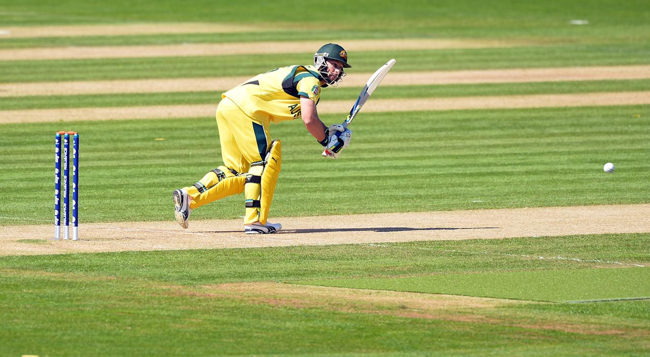 Australia's Matt Wade plays a shot during the warm-up cricket match ahead of the 2013 ICC Champions Trophy between India and Australia at The Cardiff Wales Stadium in Cardiff, Wales on June 4, 2013.  India won by 243 runs. AFP PHOTO/Paul ELLIS        (Photo credit should read PAUL ELLIS/AFP/Getty Images)