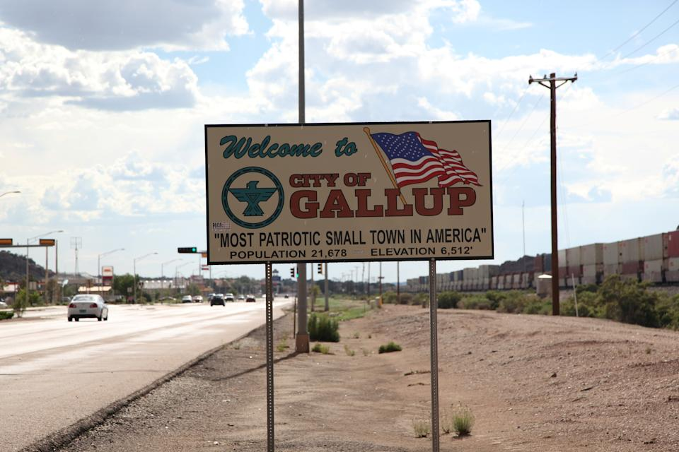 A sign marks the entrance to Gallup, New Mexico, U.S. July 24, 2018. Picture taken July 24, 2018. REUTERS/Pamela J. Peters