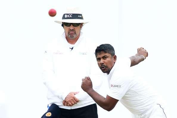 WELLINGTON, NEW ZEALAND - JANUARY 05: Rangana Herath of Sri Lanka bowls during day three of the Second Test match between New Zealand and Sri Lanka at Basin Reserve on January 5, 2015 in Wellington, New Zealand. (Photo by Hagen Hopkins/Getty Images)