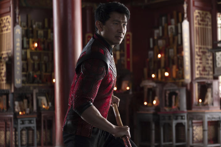 """This image released by Marvel Studios shows Simu Liu in a scene from """"Shang-Chi and the Legend of the Ten Rings."""" (Jasin Boland/Marvel Studios via AP)"""
