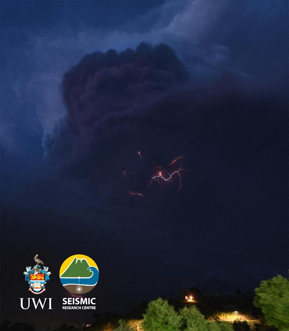 This handout image courtesy of the University of the West Indies (UWI) Seismic Research Centre released on April 9, 2021, shows lightning in the ash column during the eruption of La Soufriere Volcano from Rillan Hill in Saint Vincent.