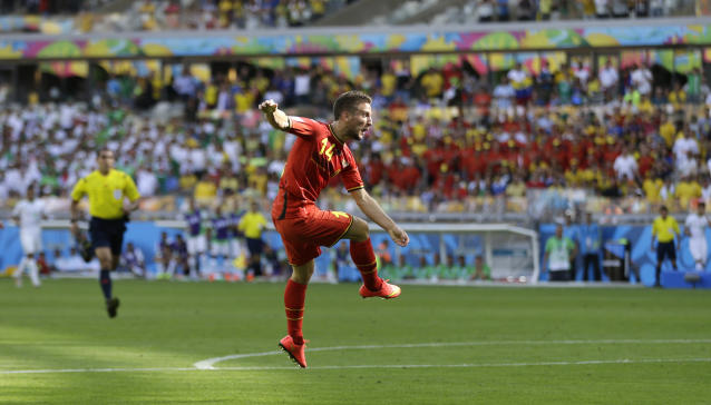 Belgium's Dries Mertens scores his side's second goal during the group H World Cup soccer match between Belgium and Algeria at the Mineirao Stadium in Belo Horizonte, Brazil, Tuesday, June 17, 2014. (AP Photo/Ricardo Mazalan)