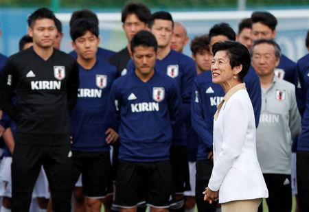 Soccer Football - World Cup - Japan Training - Japan Training Camp, Kazan, Russia - June 21, 2018 Japan's Princess Takamado attends the training REUTERS/John Sibley