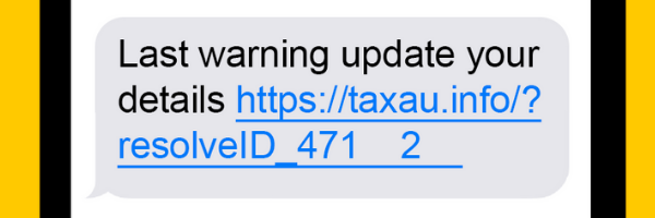 The ATO is warning Aussies about this fake text advising Australians to update their myGov details. (Source: ATO)