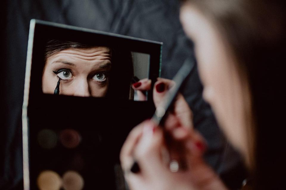 <p>Before you get to shading, you'll need to outline. If your costume requires more work than the typical eye and lip paint or makeup, it's good to outline where and what you'll want to paint on your face and body. You can do this with light to dark brown eyeshadow or eyebrow pencil that you can then cover with paint.</p>