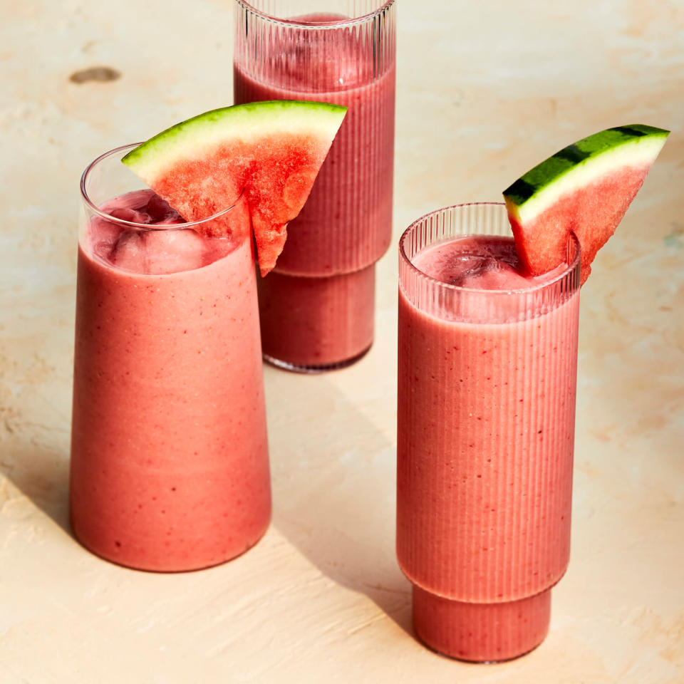 <p>This creamy vegan watermelon smoothie has a subtle coconut flavor thanks to coconut-milk yogurt. Strawberries add color and banana adds a smooth texture while letting the watermelon flavor shine through.</p>