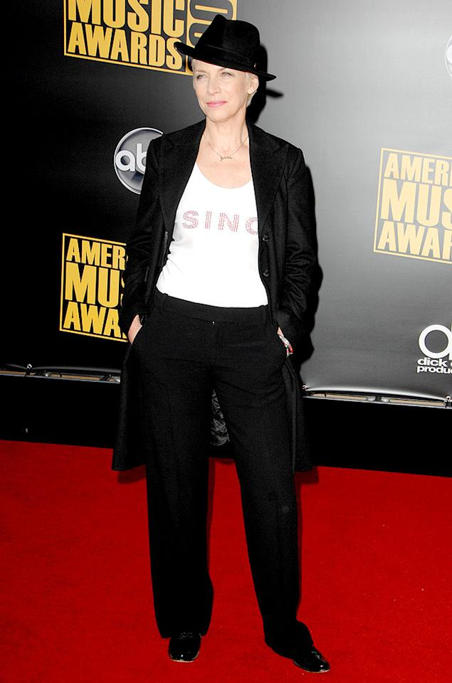 "We love menswear on women, but it has to look sharp. Slim, tailored pants would've suited Annie Lennox better. Steve Granitz/<a href=""http://www.wireimage.com"" target=""new"">WireImage.com</a> - November 23, 2008"
