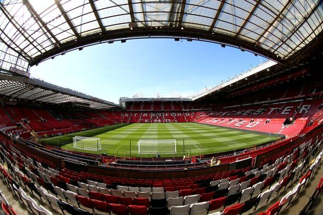 Old Trafford will look very different as Premier League football returns without fans (Nigel French/PA)