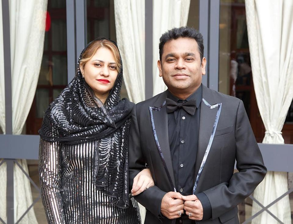 AR Rahman with his wife Saira Banu arriving for the festival.