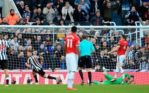 <span>Pogba was beaten in the air in the build up to Matt Ritchie's winner</span> <span>Credit: AFP </span>