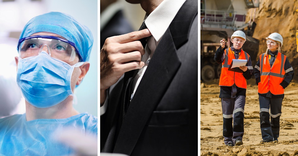 A surgeon, a businessman adjusts his tie, two people working at mine site.